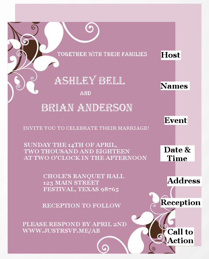 marriage invite wordings and content justrsvp me